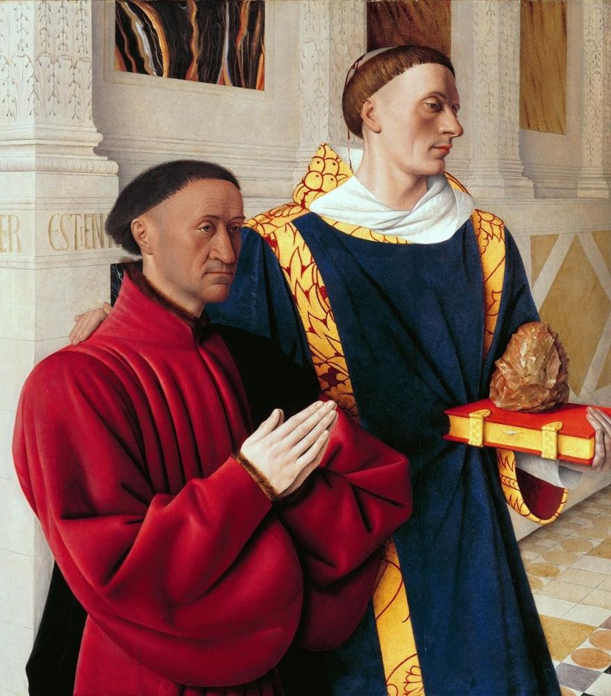 Жан Фуке. Этьен Шевалье и Св. Стефан. Левая створка Меленского диптиха