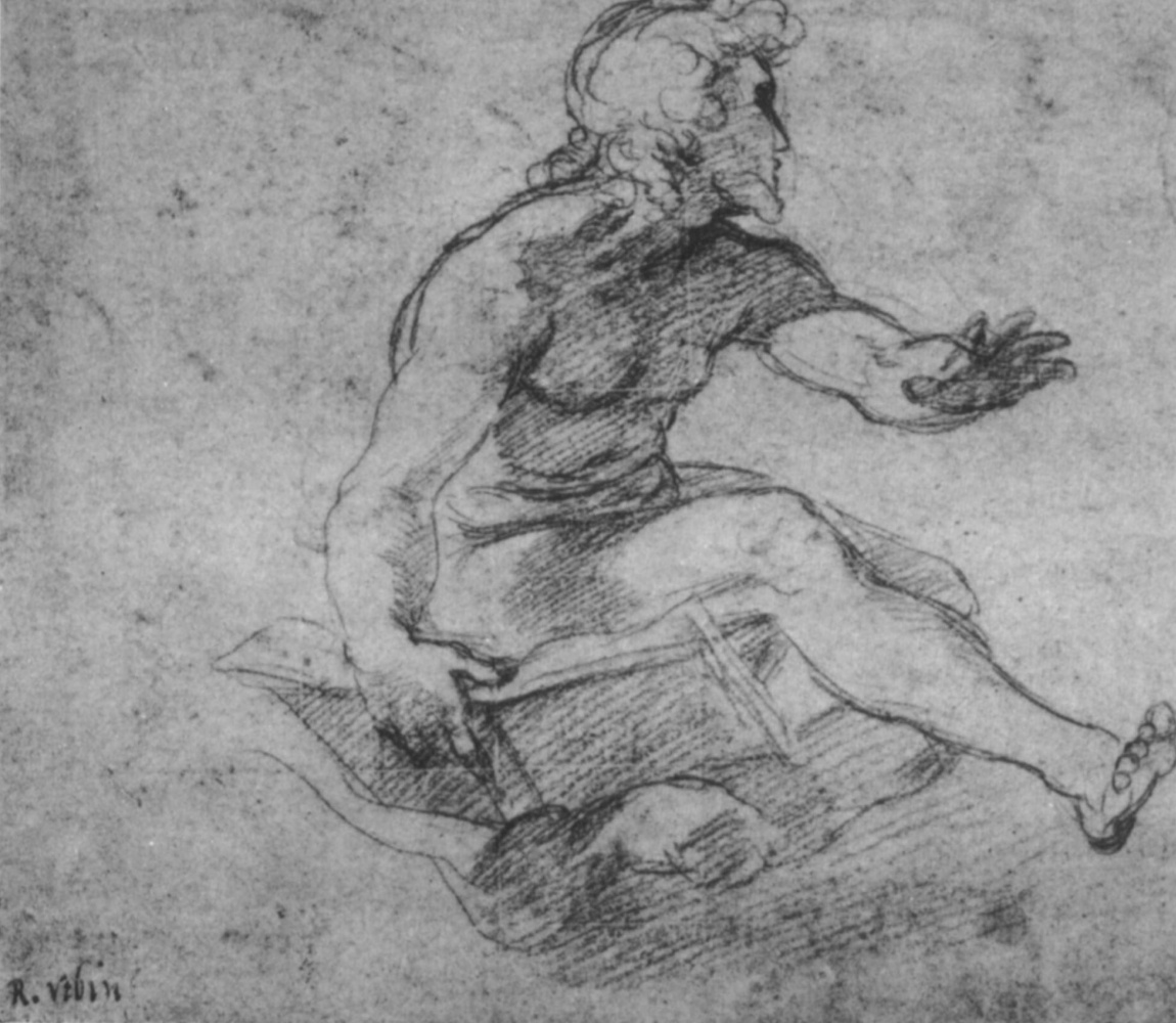 """Raphael Sanzio. A sketch of the figure with the image SV. Matthew, """"Transformation"""""""