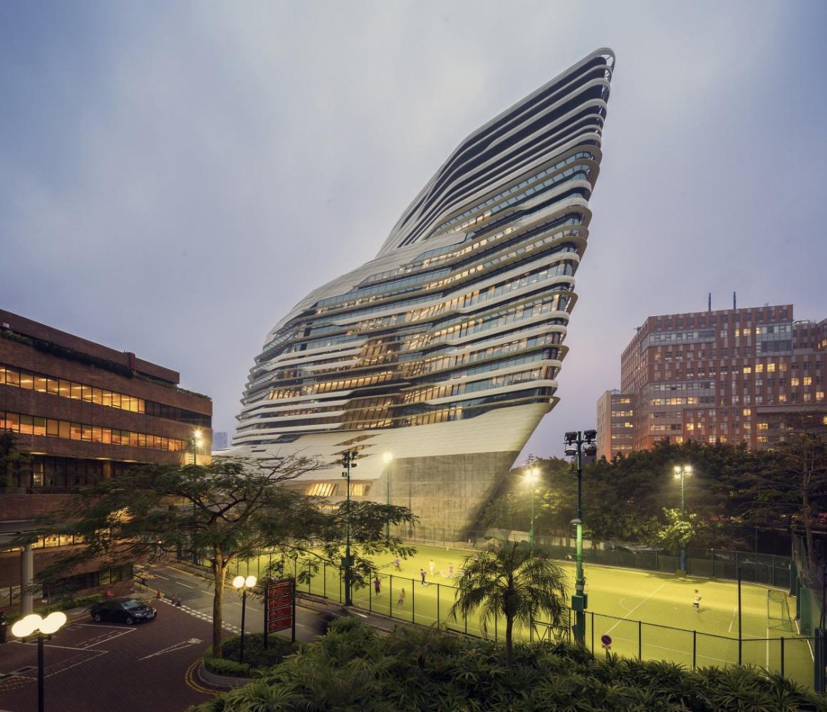 Zaha Hadid. Hong Kong Polytechnic University Building Jockey Club Innovation Tower