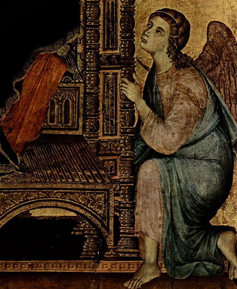 Дуччо ди Буонинсенья. Мадонна Ручеллаи, сцена: Мадонна на престоле с ангелом, деталь: Ангел