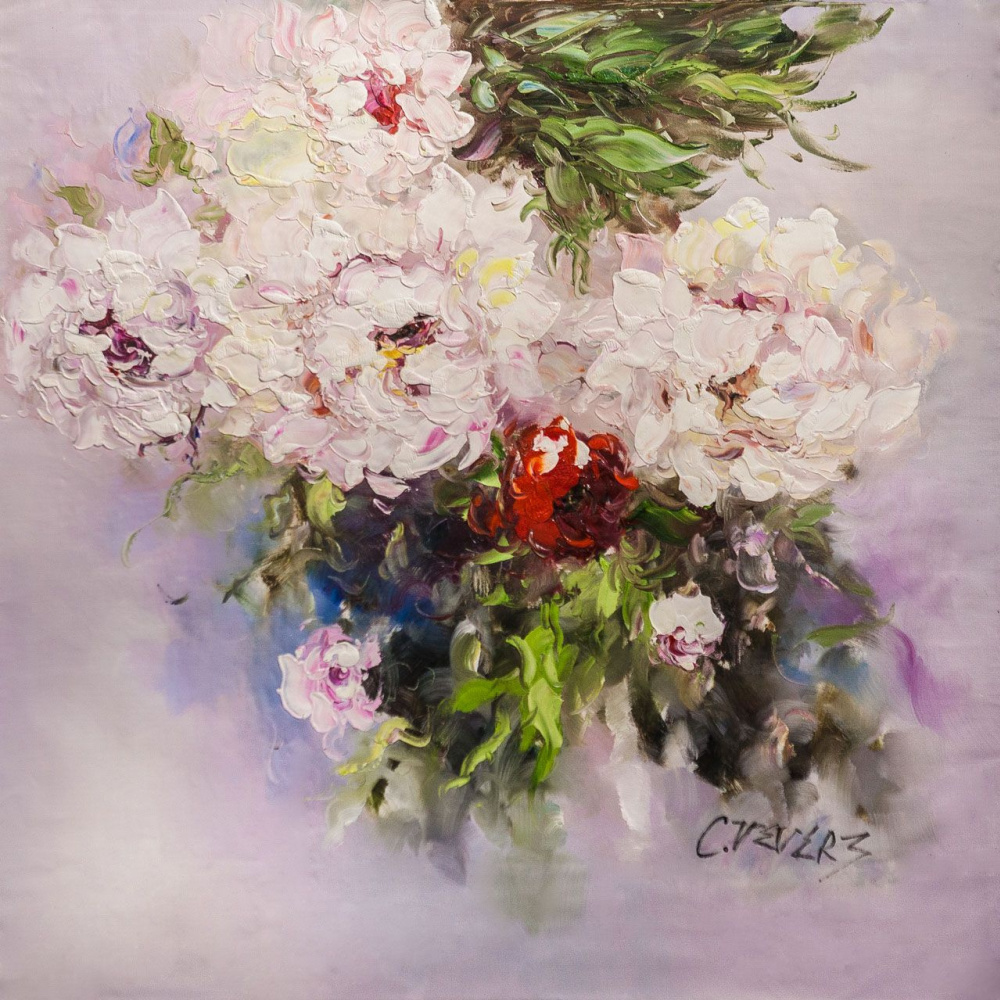(no name). Bouquet of white peonies. Expression of N2