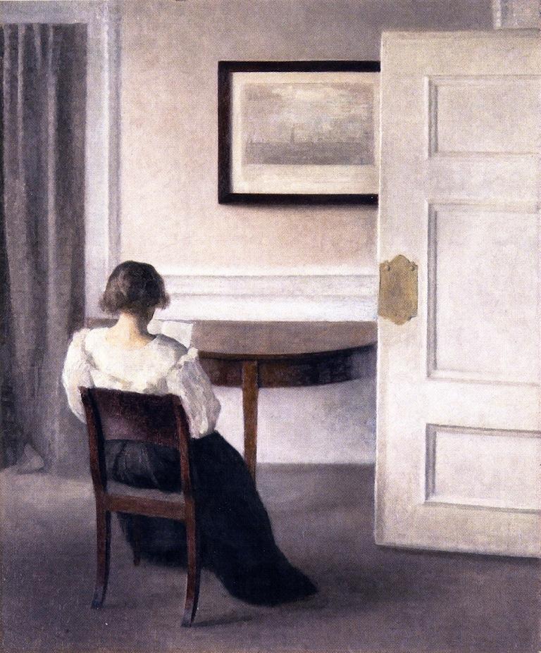 Вильгельм Хаммерсхёй. Читающая женщина в интерьере
