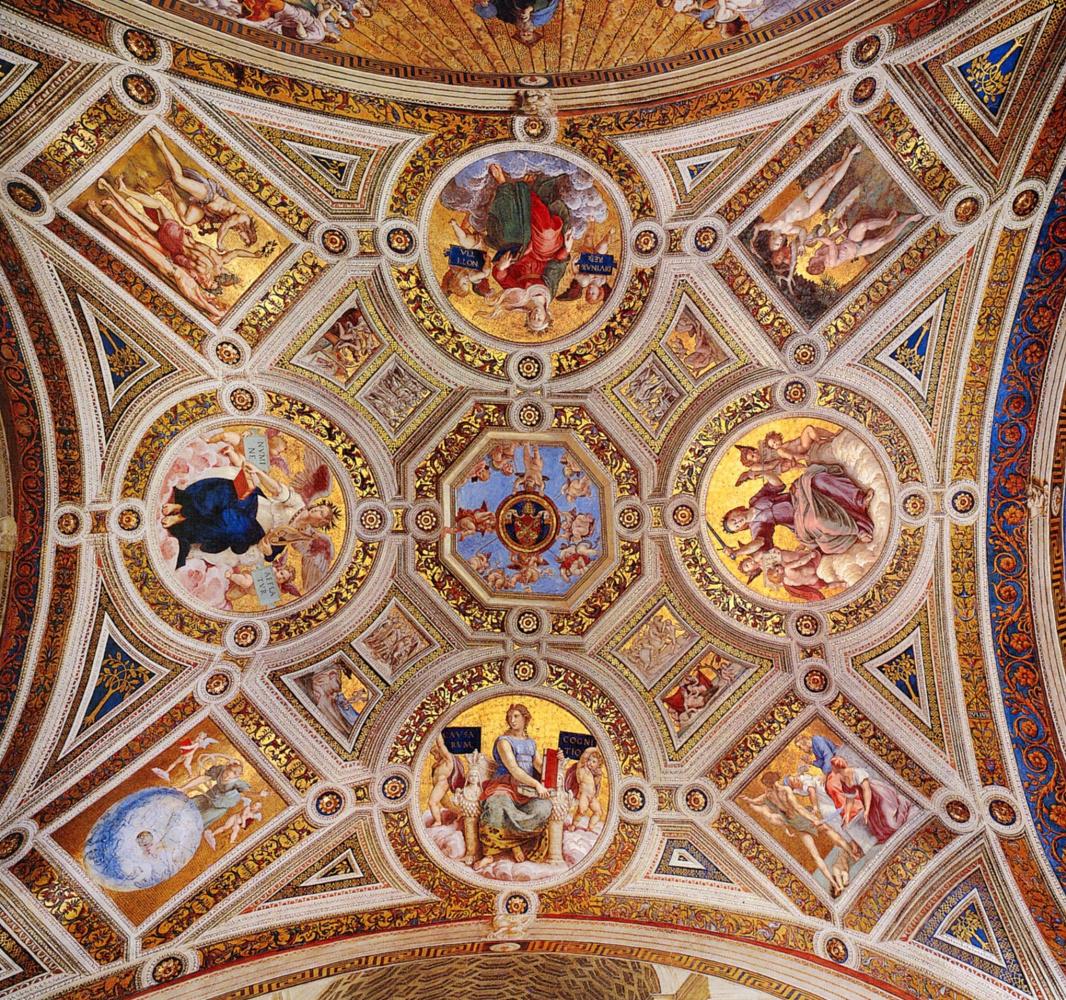 Рафаэль Санти. Станца делла Сеньятура. Роспись потолка зала дворца понтифика в Ватикане. Аллегории
