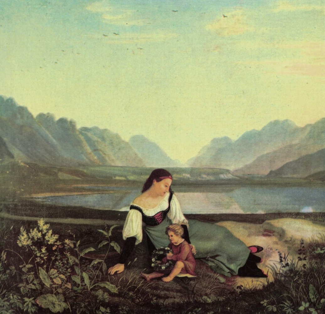 Mother and child in a meadow  Inna valley near Hallam by