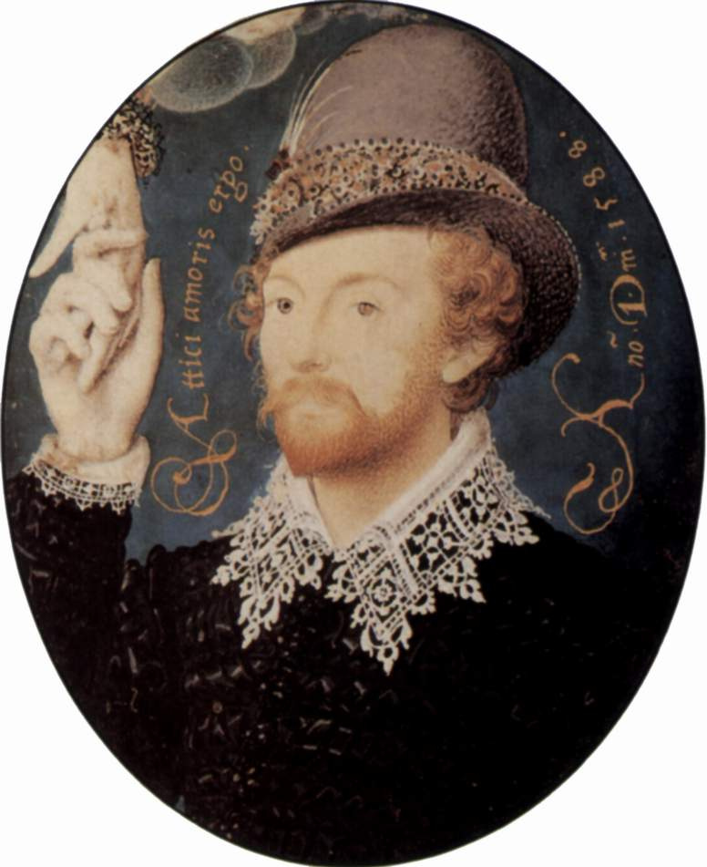 Nicolas Hilliard. Portrait of an unknown man holding a woman's hand