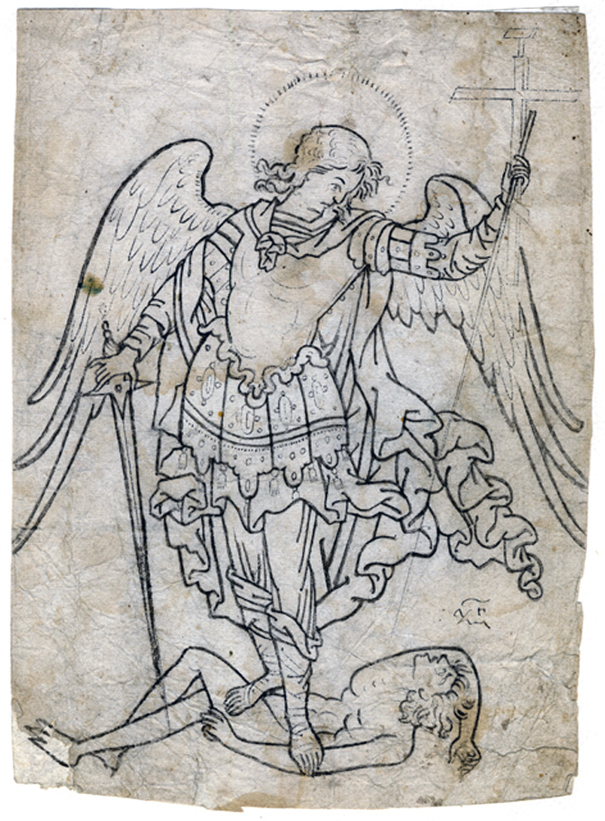Icon Painting. Archangel Michael plunges Satan. Icon pattern