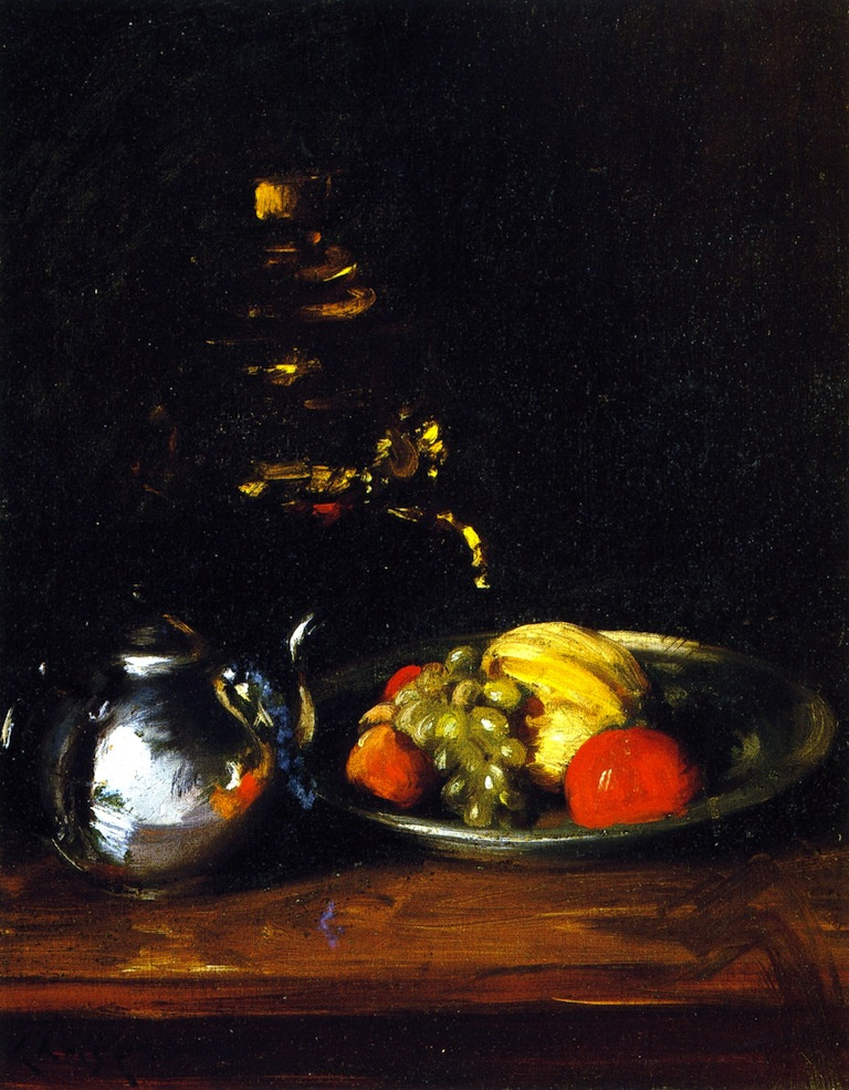 William Merritt Chase. Still life with kettle and fruit