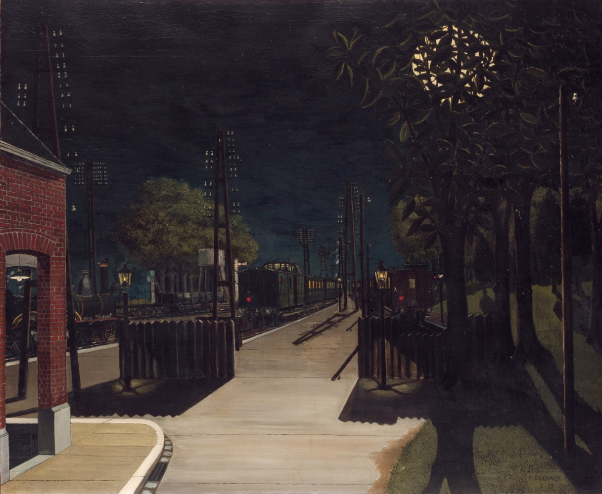 Paul Delvaux Belgium 1897-1994. Small train station at night. 1959 Metropolitan Museum, New York
