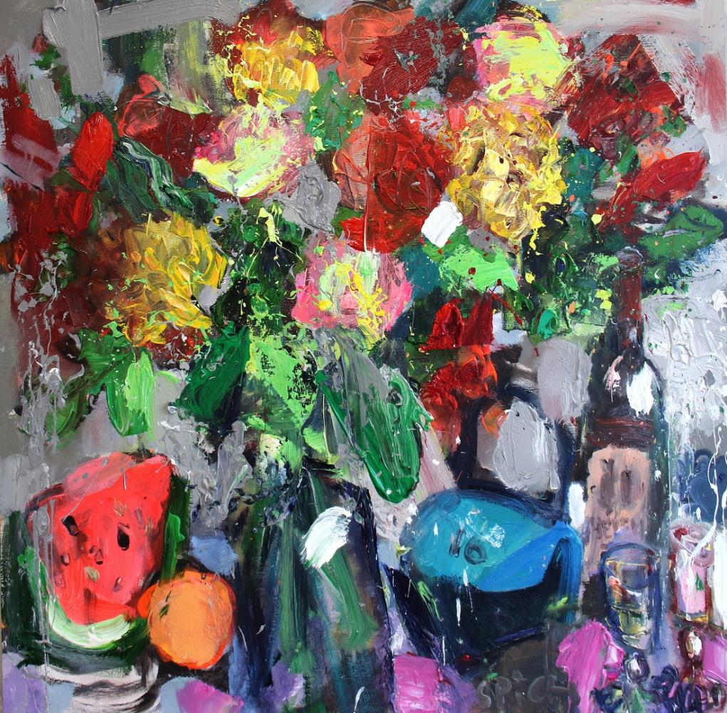Ilya Pavlovich Spichenkov. Watermelon, orange, vase of flowers, kettlebell, a bottle of Chegen and two wine glasses