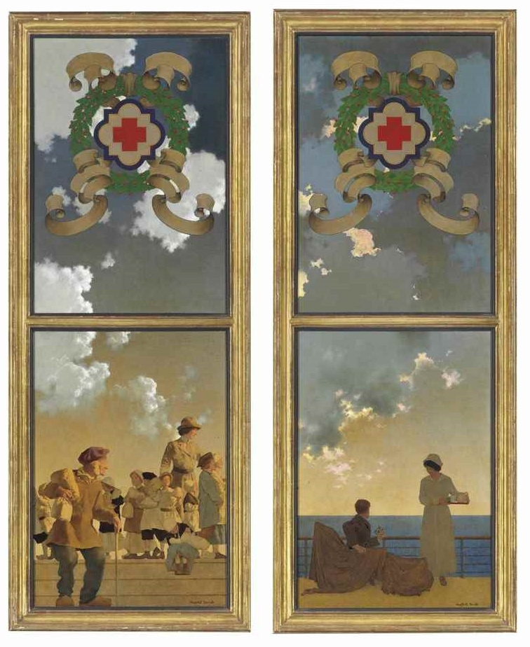 Максфилд Пэрриш. Дизайн постеров для Красного Креста. Наблюдающие за подводными лодками. Раздача еды