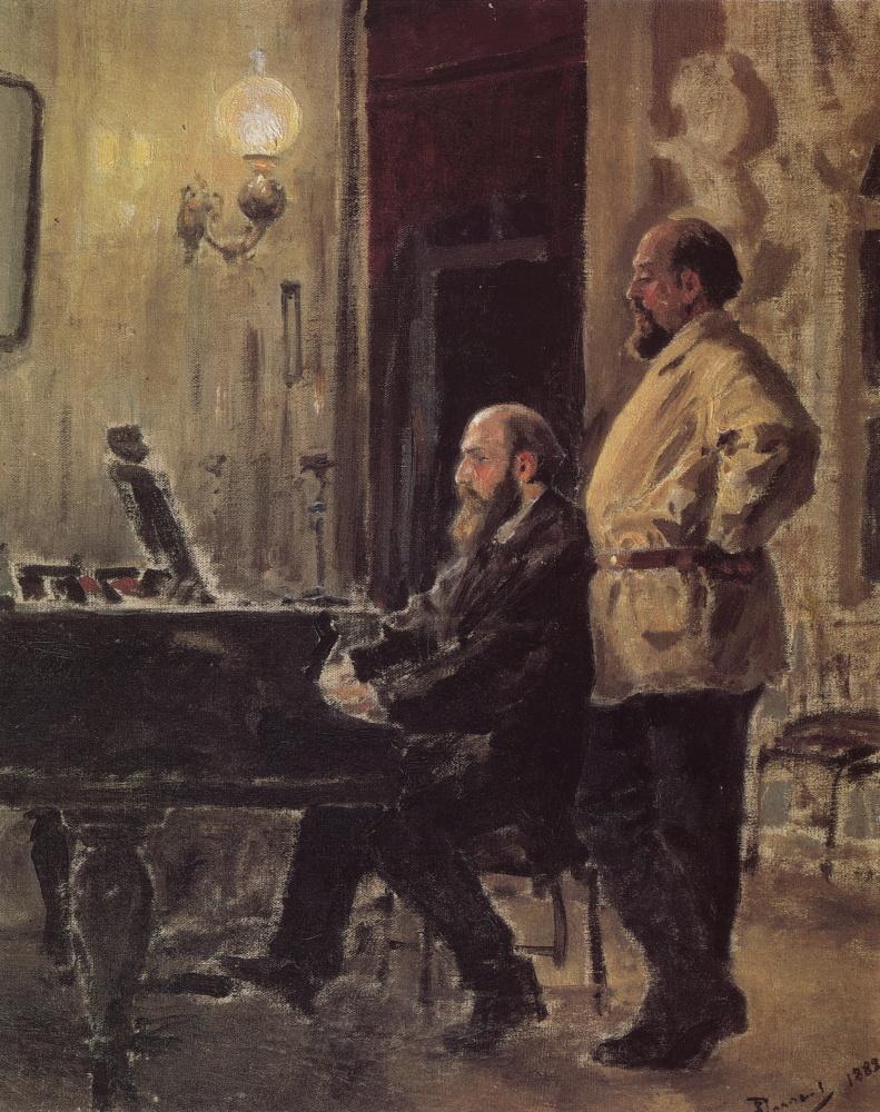 Василий Дмитриевич Поленов. С. И. Мамонтов и П. А. Спиро у рояля