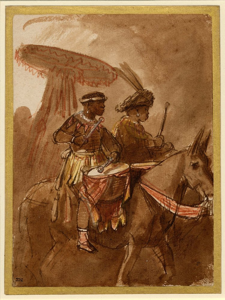 Rembrandt Harmenszoon van Rijn. A black drummer and commander mounted on mules
