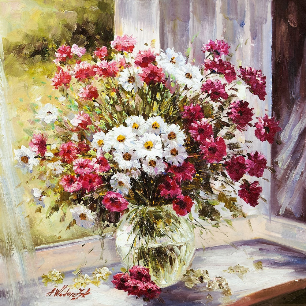 Andrzej Vlodarczyk. Bouquet of daisies on the window