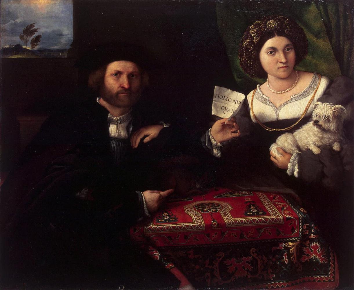 """Лоренцо Лотто. """"Свадебный портрет Николы Бонджи и его жены"""""""
