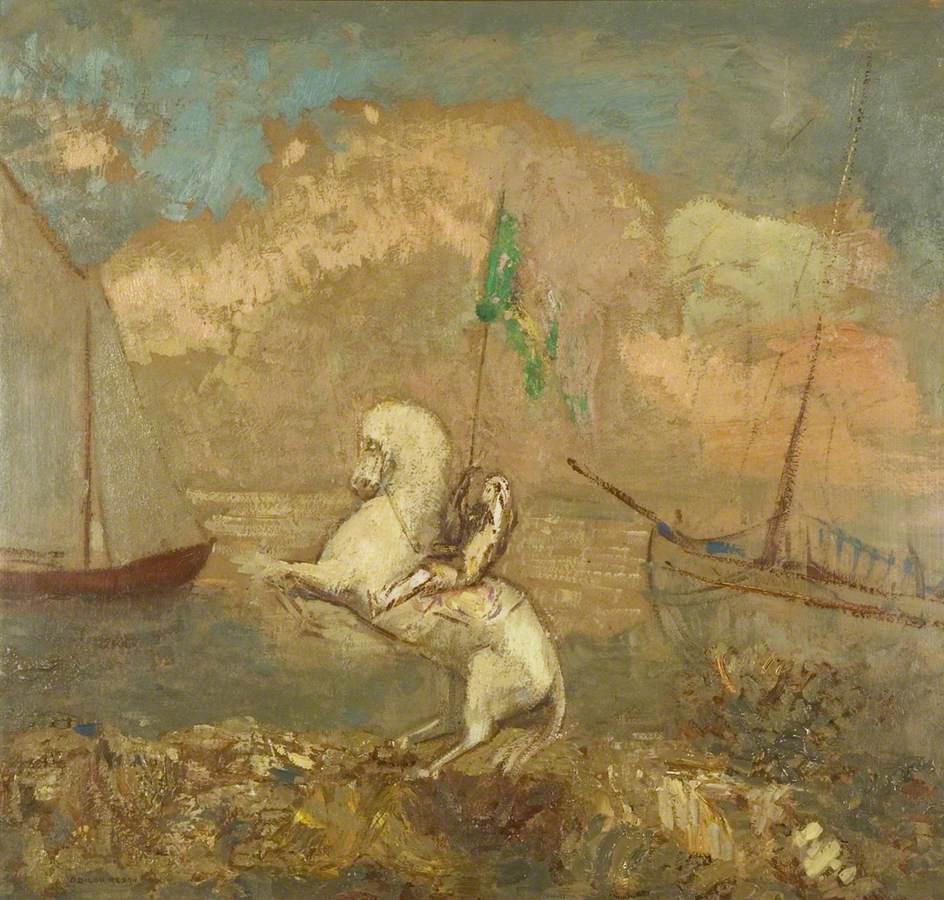Одилон Редон. Всадник на взморье с двумя кораблями