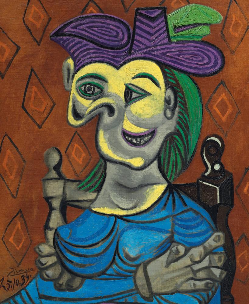 Пабло Пикассо. Сидящая женщина в синем платье (Дора Маар)
