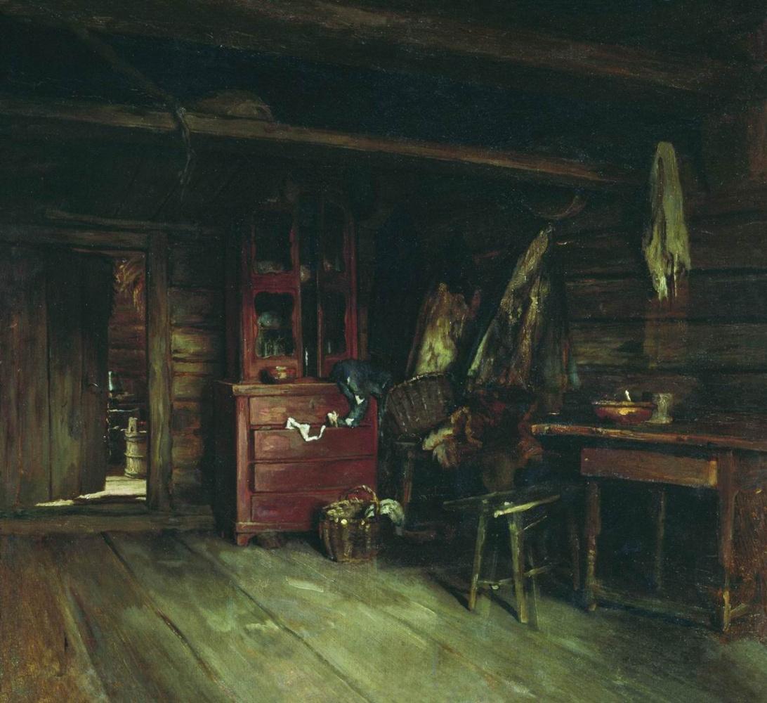 Vasily Maksimovich Maksimov. Interior view of the hut. 1869