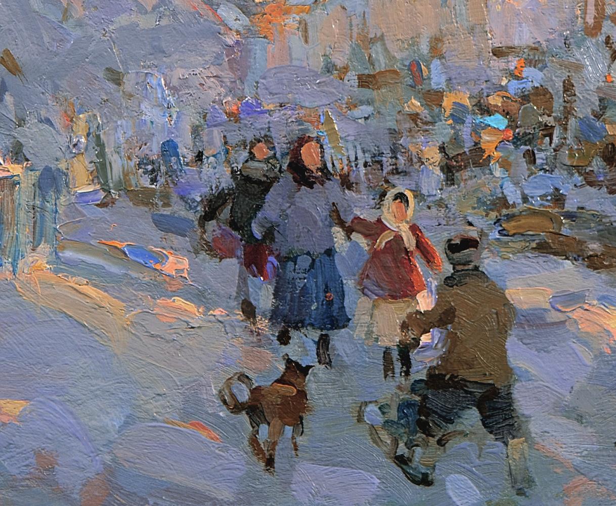 Winter evening in Rybinsk. Oil on canvas 29.5 x 37.5 cm. 2015