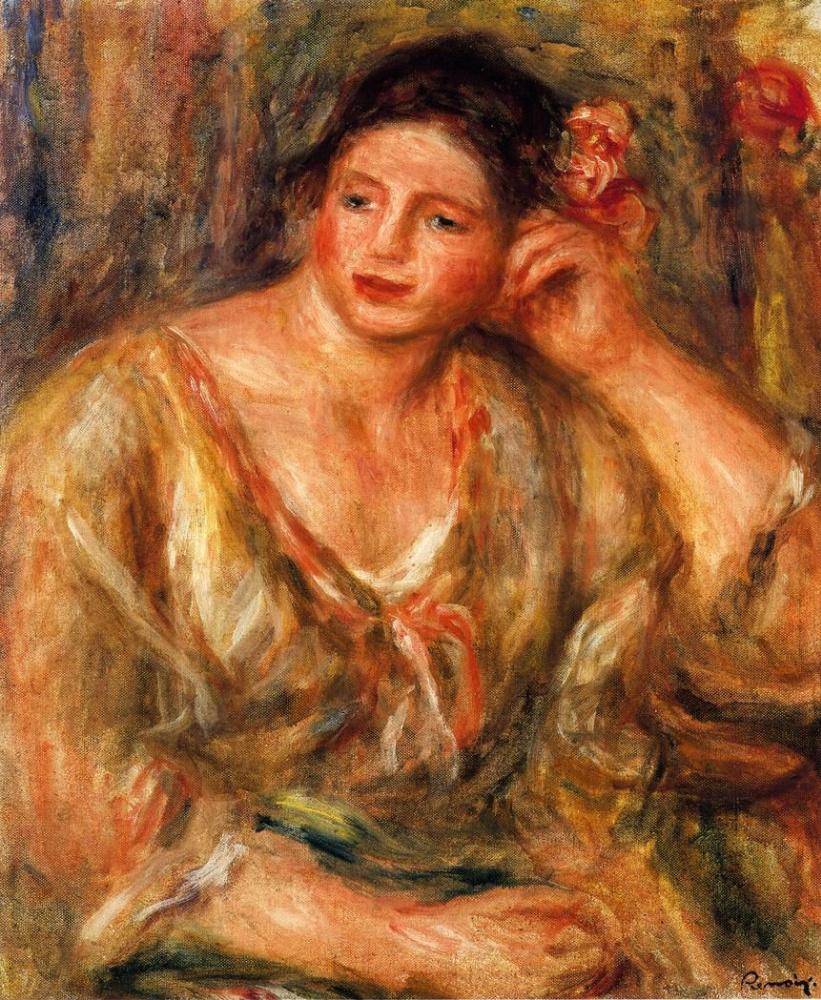 Пьер Огюст Ренуар. Мадлен с цветами в волосах, опирающаяся на локоть