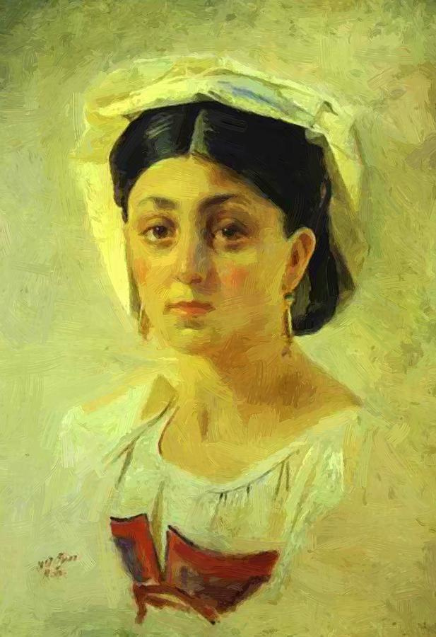 """Nikolai Nikolaevich Ge. Young girl in folk costume. Unrealized sketch for the painting """"Death of Virginia"""""""