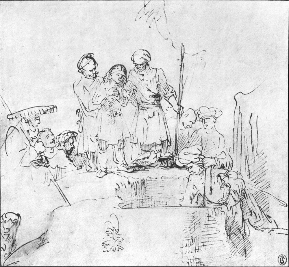Рембрандт Ван Рейн. Братья прячут Иосифа в колодце