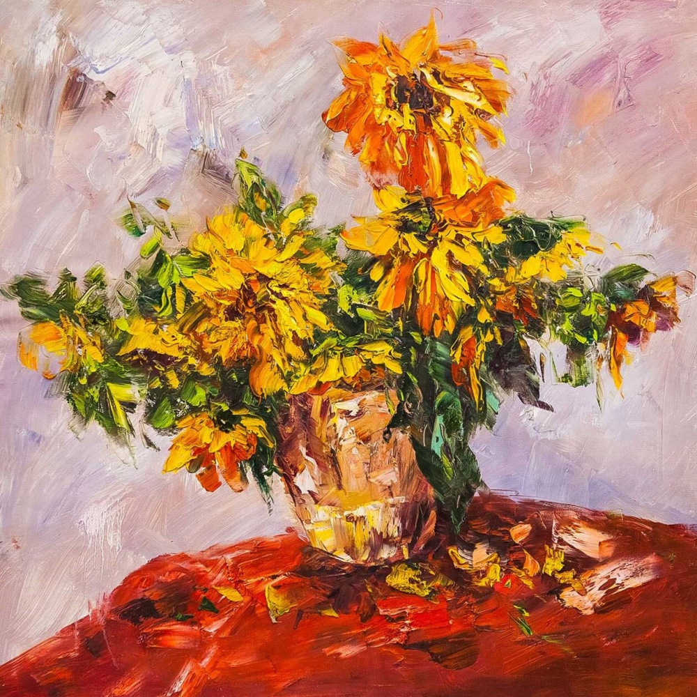 (no name). Garden Sunflowers in a Vase