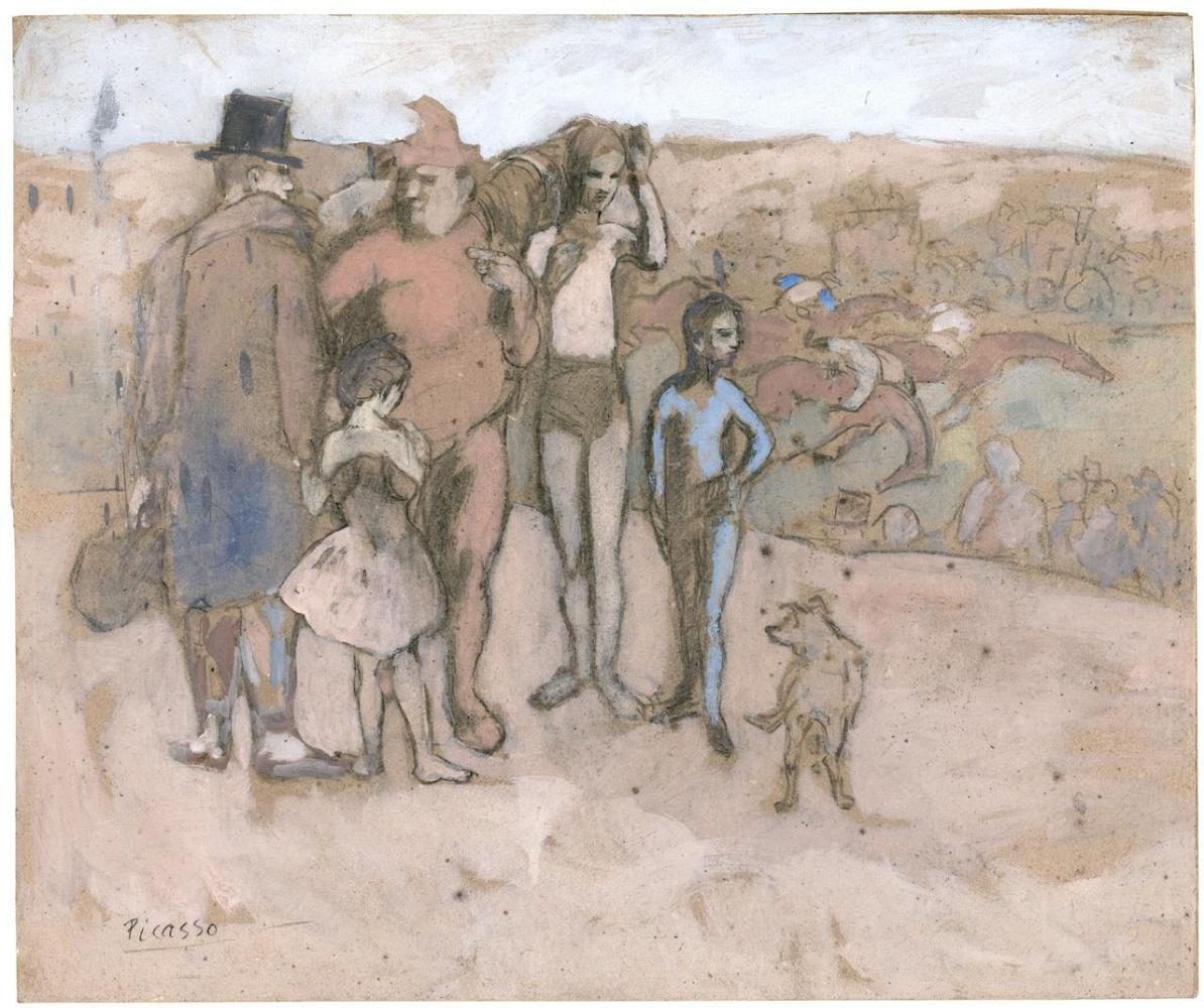 """Pablo Picasso. Comedians. Sketch for the painting """"Les Bateleurs"""""""