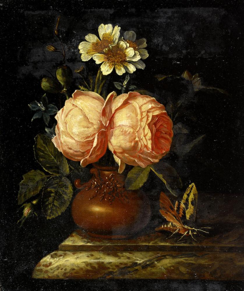 Виллем Фредерик ван Ройен. Розы в глиняной вазе на мраморной столешнице