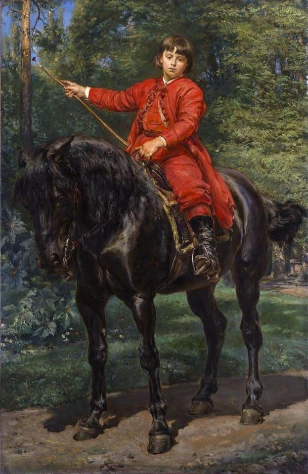 Ян Матейко. Портрет Ежи Матейко, сына художника, на лошади