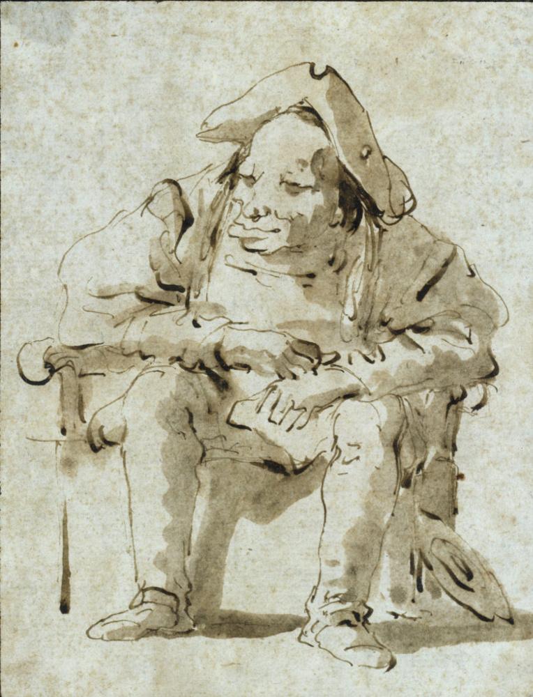 Джованни Баттиста Тьеполо. Карикатурный портрет сидящего мужчины