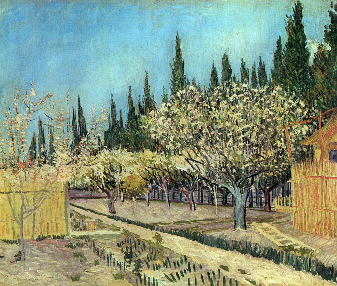 Vincent van Gogh. Orchard in bloom framed by cypress trees