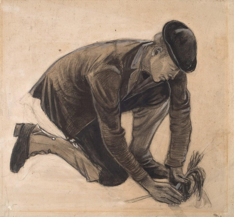 Vincent van Gogh. A man planting a plant