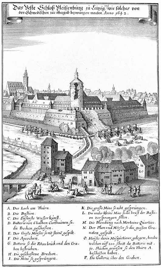 Маттеус Мериан Старший. Лейпциг, обстрел Плейсенбурга шведами в 1642 году