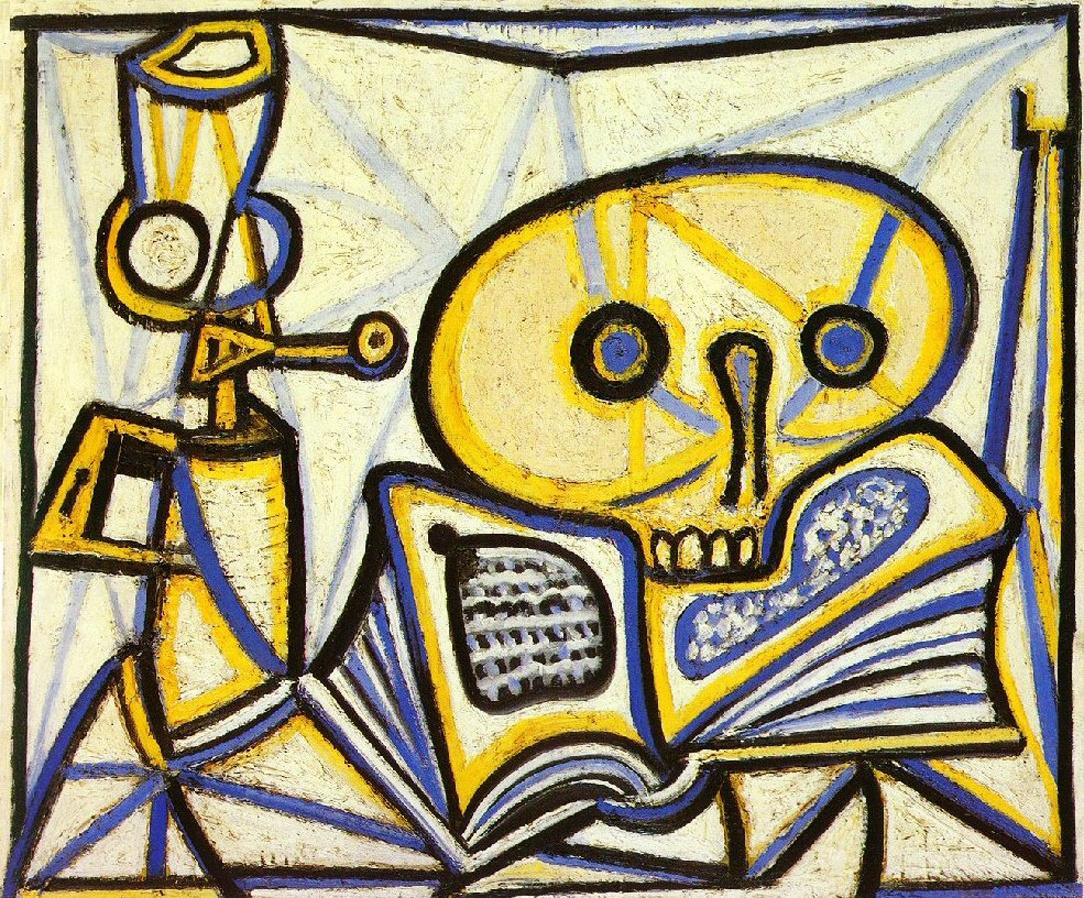 Пабло Пикассо. Ванитас. Череп, книга и керосиновая лампа