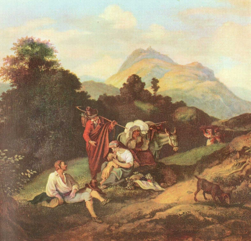 Adrian Ludwig Richter. Italian landscape with resting travellers