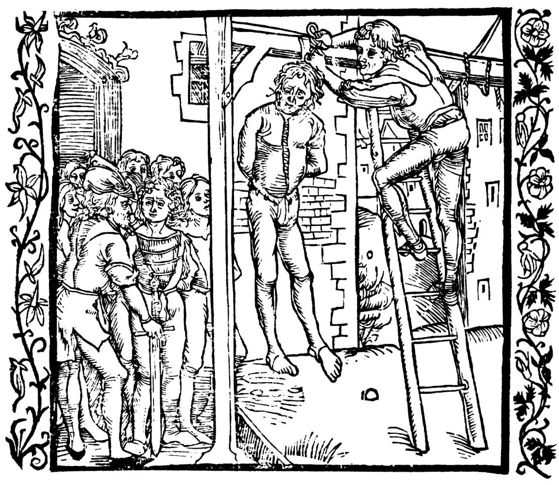 """Альбрехт Дюрер. Иллюстрация к книге """"Рыцарь де ля Тур """". Амана и его сыновей казнят через повешение"""