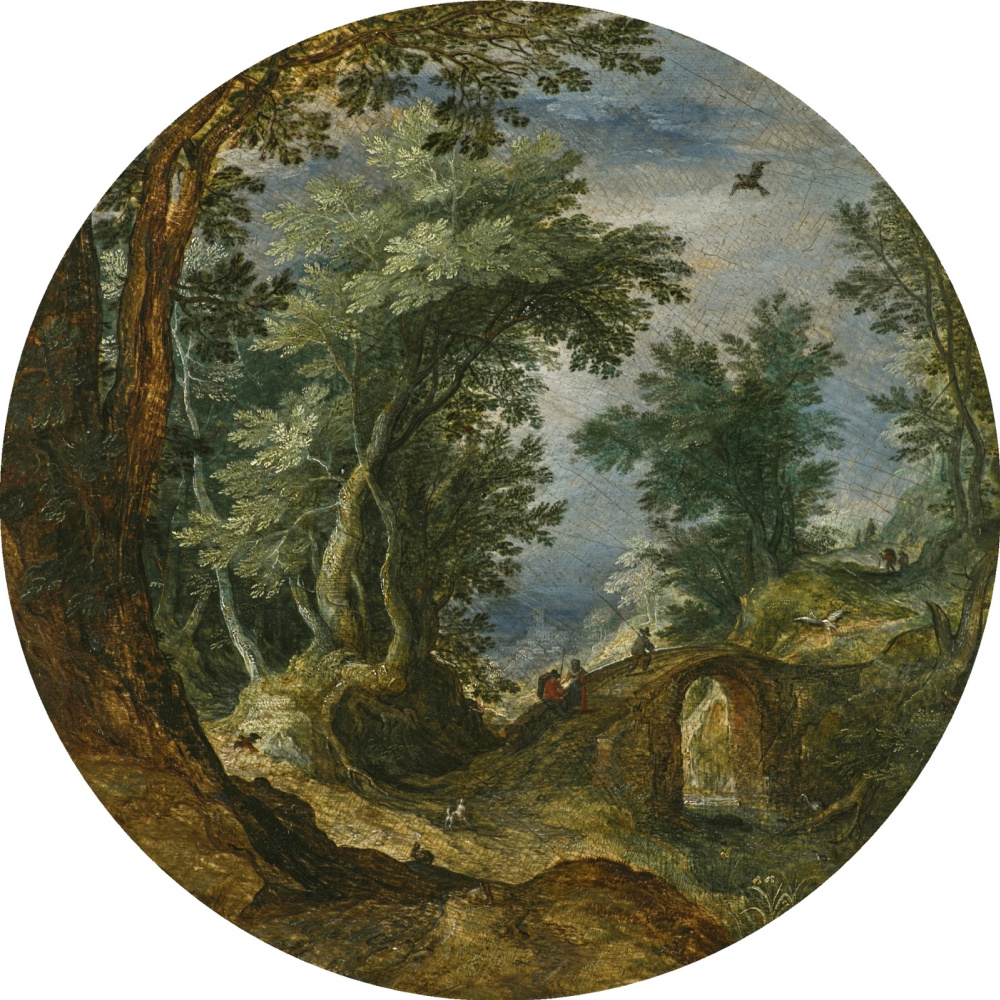 Jan Bruegel The Elder. Forest landscape with figures crossing the bridge.