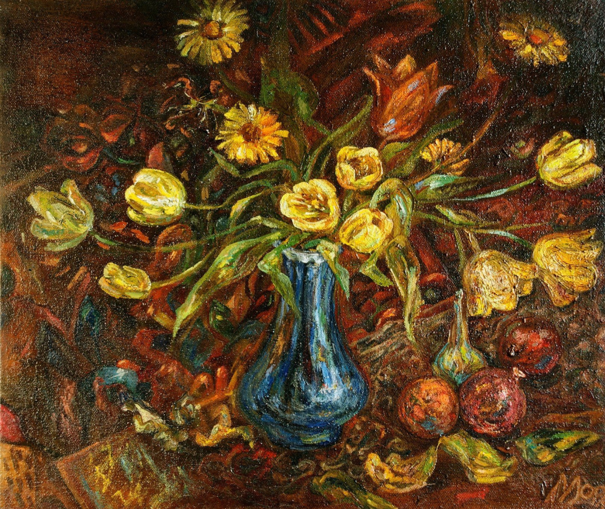Agnes Carrot. Tulips in a blue vase