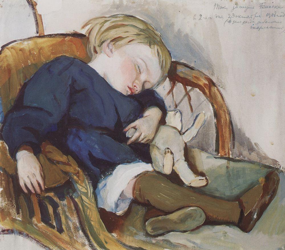 Zinaida Serebriakova. So Binika asleep (Evgeny Serebryakov)