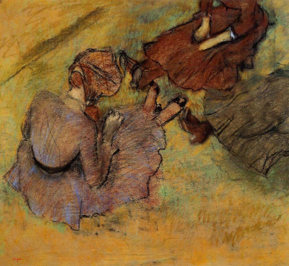 Эдгар Дега. Сидящая на траве женщина