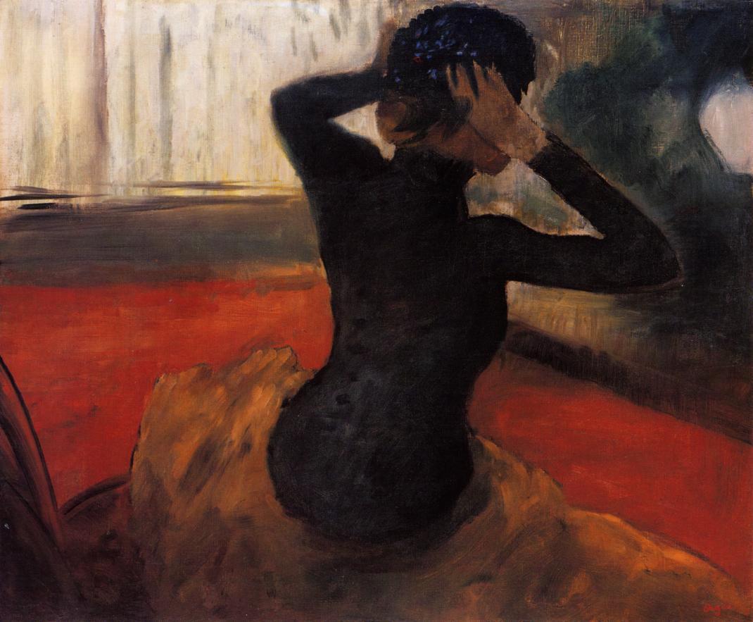 Эдгар Дега. Женщина, примеряющая шляпу