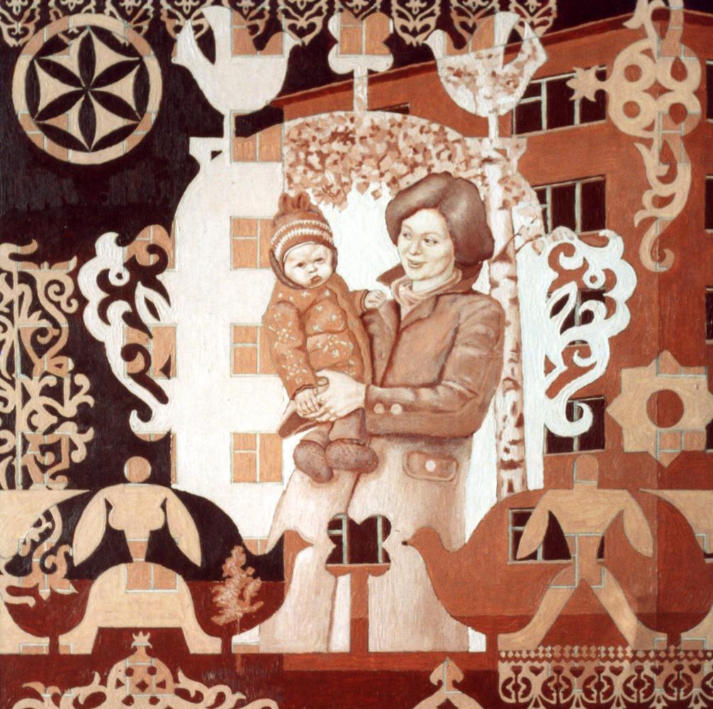 Алексей Петрович Акиндинов. Mama. Sketch for the picture. Portrait of the artist's mother - Ekaterina Vasilyevna Akindinova