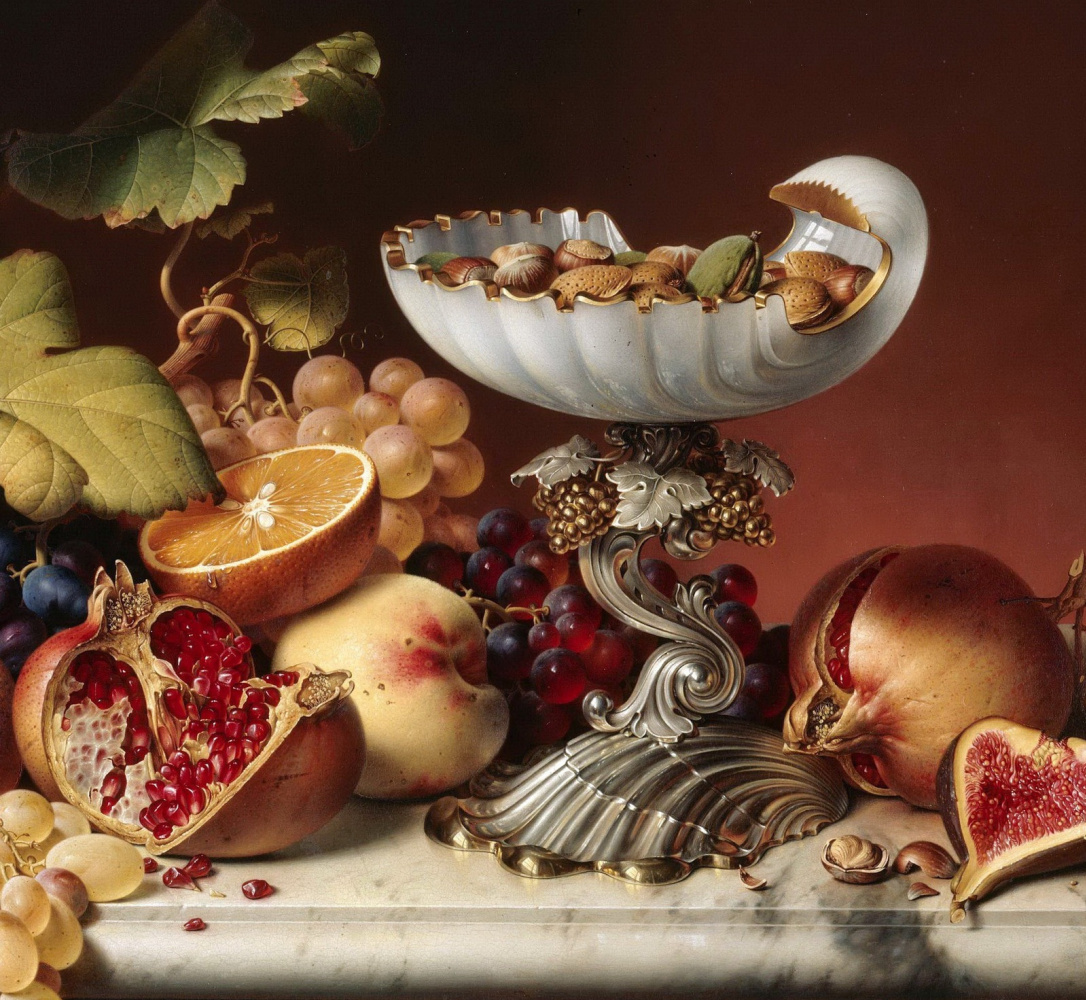 Иоганн Вильгельм Прейер. Натюрморт с фруктами. 1836   деталь