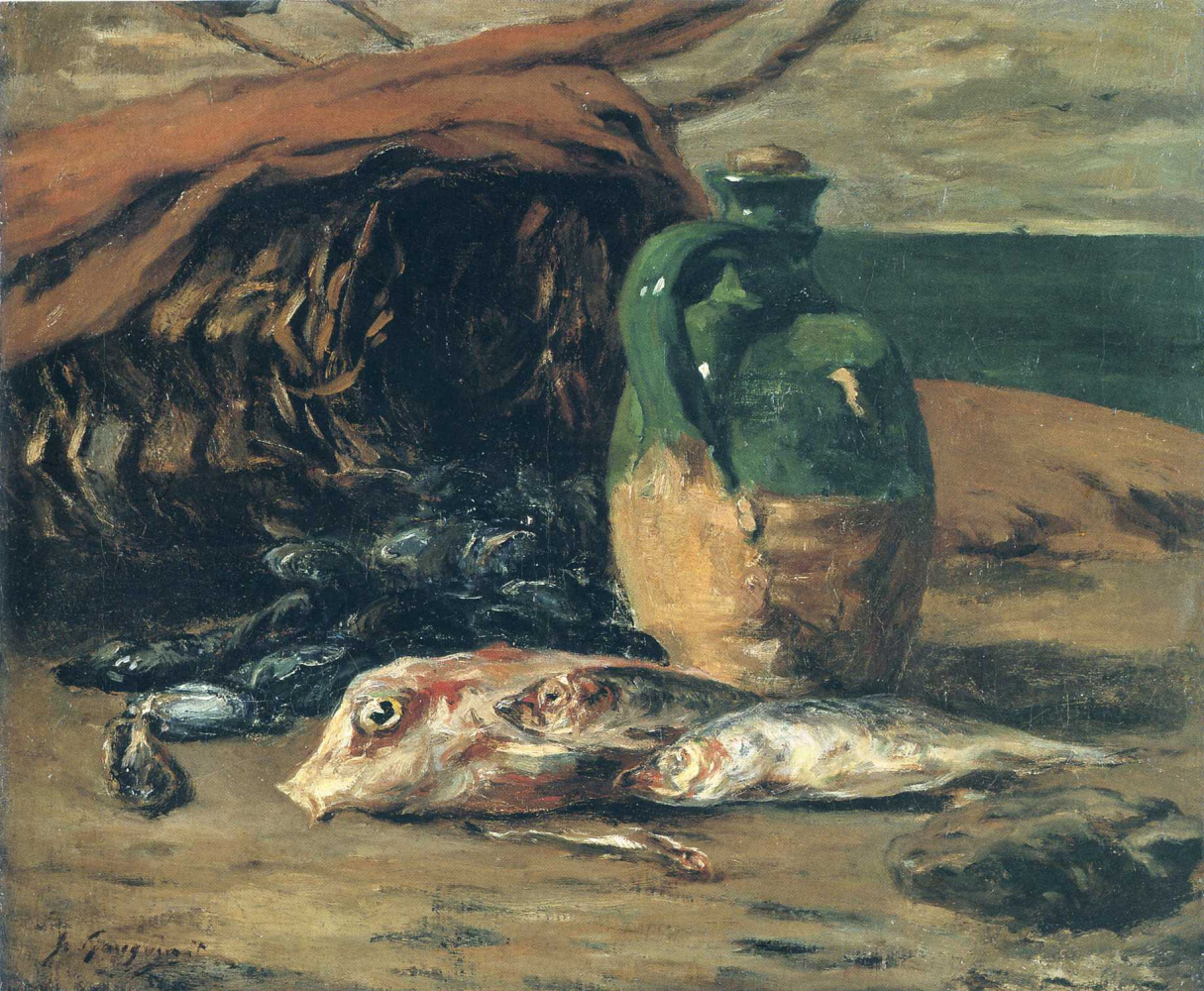 Paul Gauguin. Still life with red mullet and jug