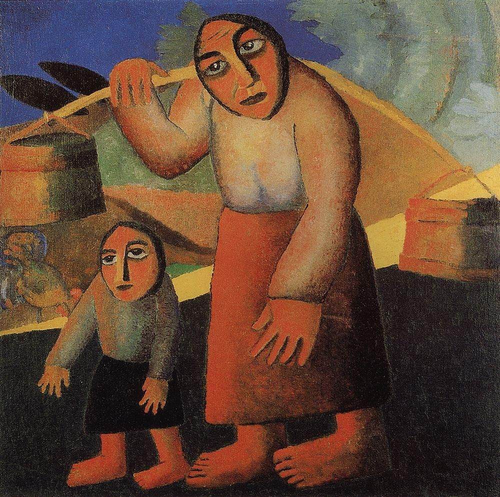 Kazimir Malevich. Peasant woman with buckets and child