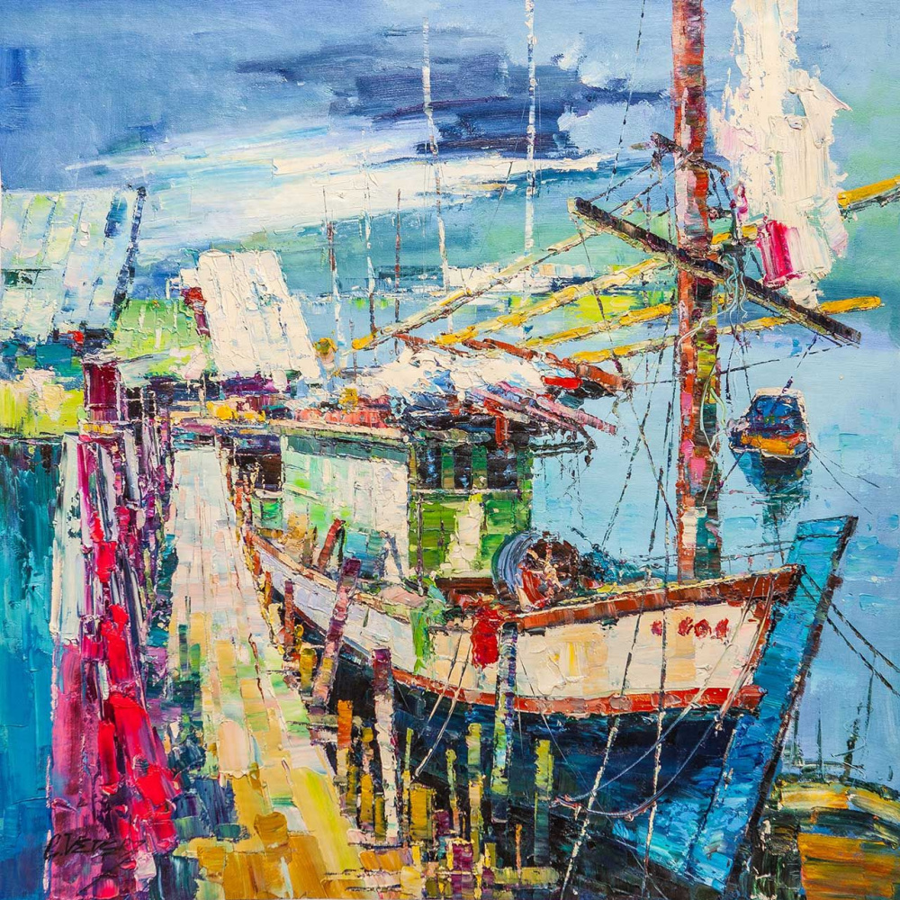 (no name). Fishing boat. In shades of azure