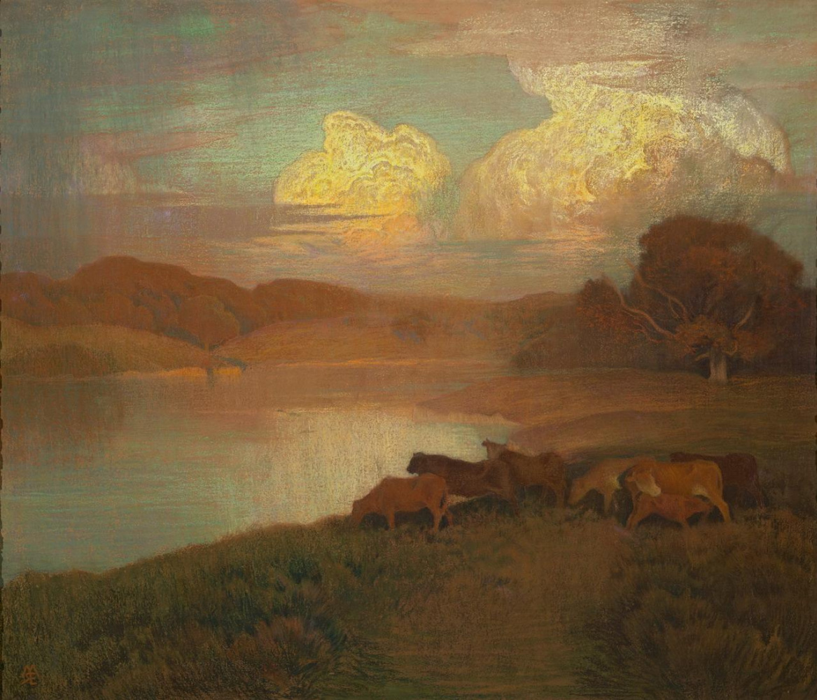 Marie Auguste René Emil Menard. Landscape. Herd at a watering place