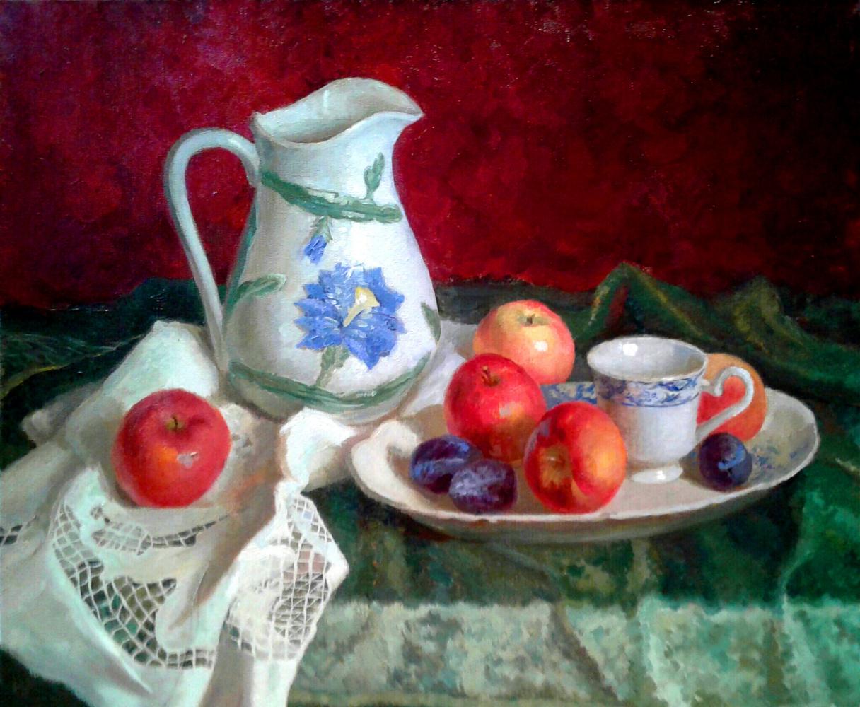 "Polina Vladimirovna Moshkova. ""Still life with red apples"""