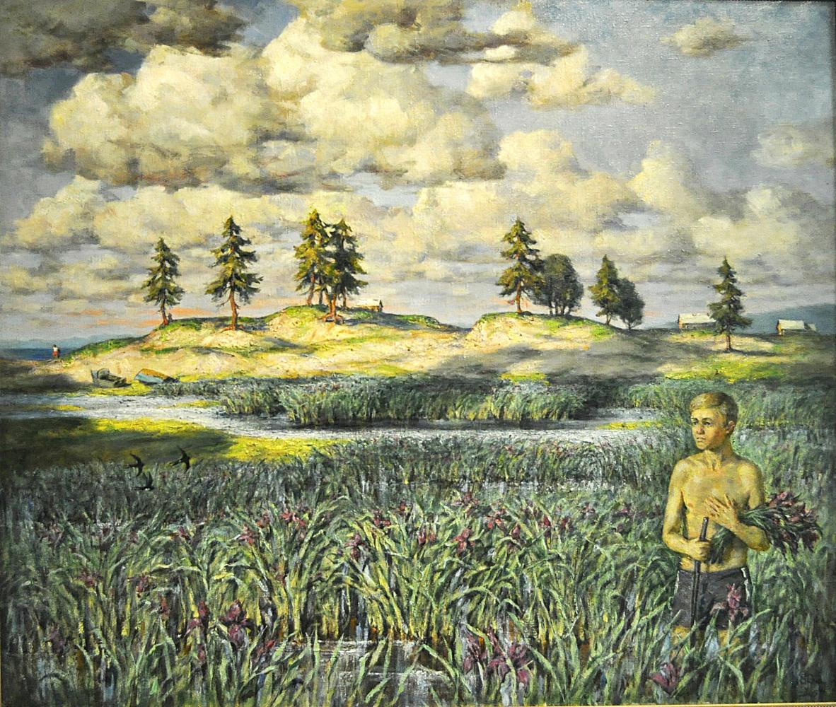 "Valery Petrovich Erofeevsky. ""Iris Blossoms"", 2005, oil on canvas, m., 85.5x100"