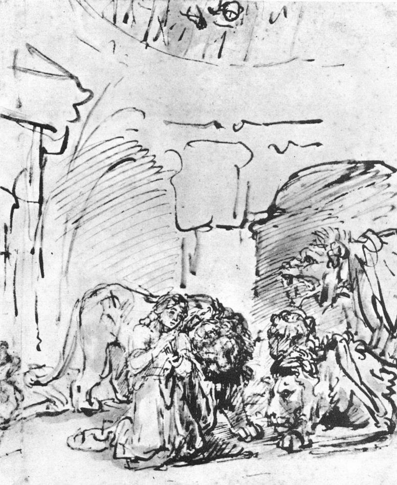 Рембрандт Ван Рейн. Даниил во рву львином